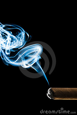 Cuban cigar with blue smoke