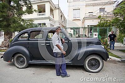 Old Amrican car in Havan, Cuba  Editorial Photo