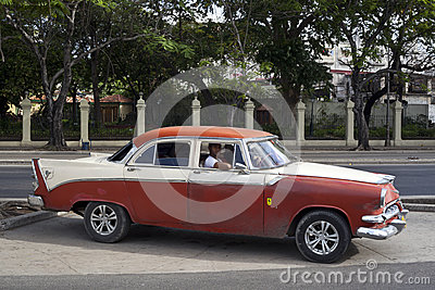 Old American car in Havana, Cuba  Editorial Image