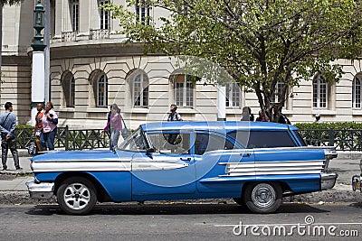 Old American car in Havana, Cuba  Editorial Photography