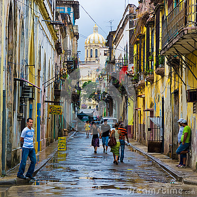 Cuban people in an old neighborhood in Havana Editorial Stock Image