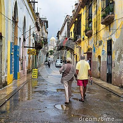 Cuban people in an old neighborhood in Havana Editorial Photography