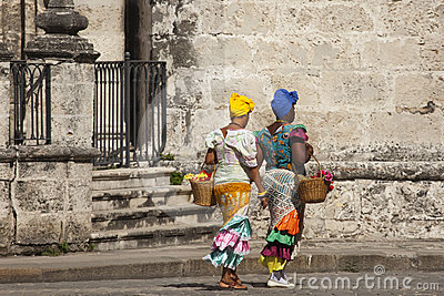 Cuban women with traditional costums Editorial Stock Image