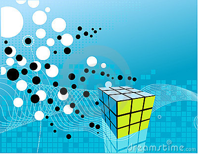 Cube on abstract background