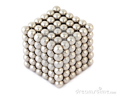 Cube assembled from metallic balls