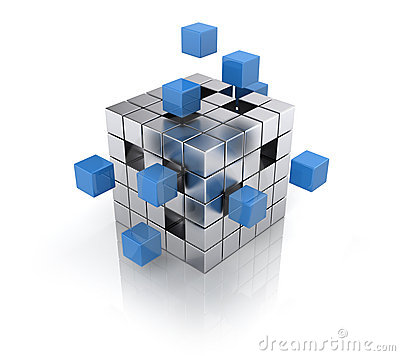 Free Cube Assembling From Blocks Royalty Free Stock Image - 23203506