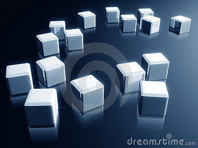 Cube box with reflection decorative design element