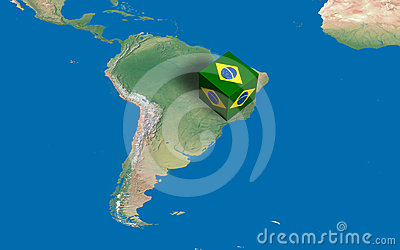Cube with Brazilian flag over the map