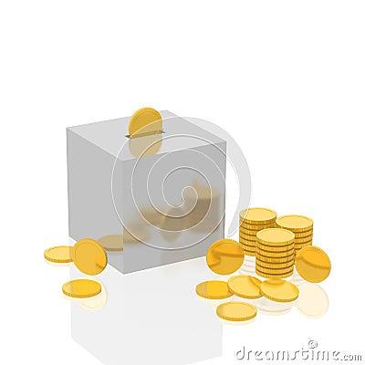 Cube a coin box