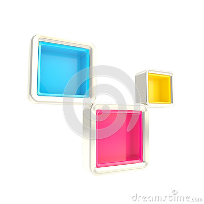 Cube copyspace shelves as abstract background