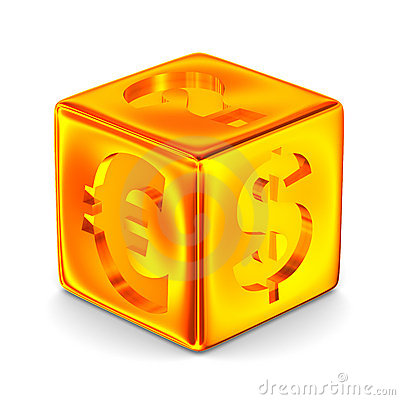 Cube with currency signs