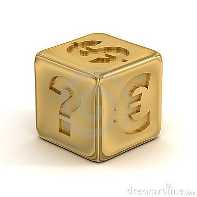 Cube with currency signs.