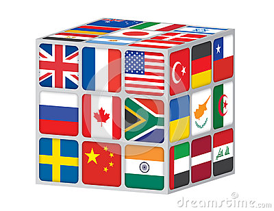 Cube with flags of the world