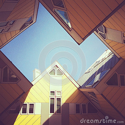 Cube houses hotel in Rotterdam Editorial Stock Photo