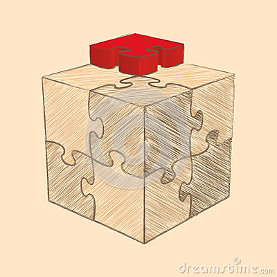 Cube Puzzle. Retro Style Sketch