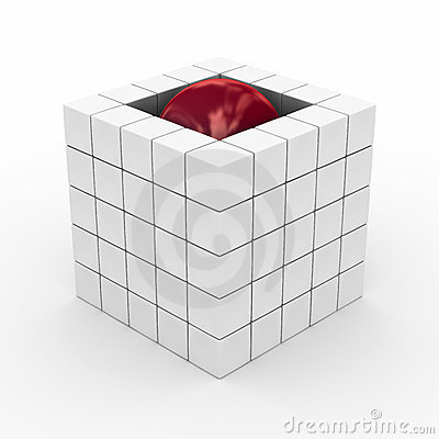 Cube with sphere on a white background.