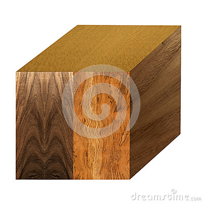 Cube with wood samples