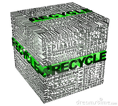 Cube words with recicle word in green
