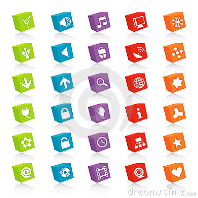 Free Cubed Web Icons (Vector) Royalty Free Stock Photo - 2717915