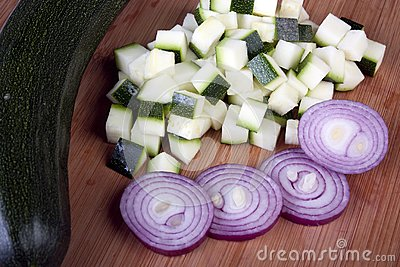 Cubed Zucchini and Sliced Red Onion
