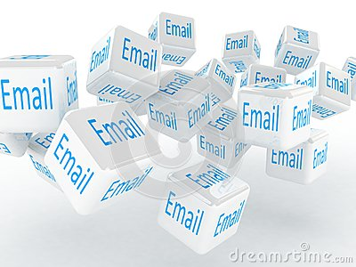 Cubes with a email, 3D images