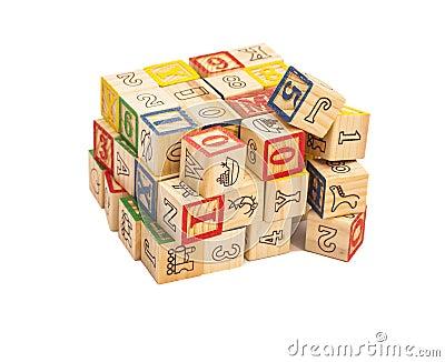 Cubes en bois en jouet avec des lettres blocs en bois d - Jouet alphabet ...