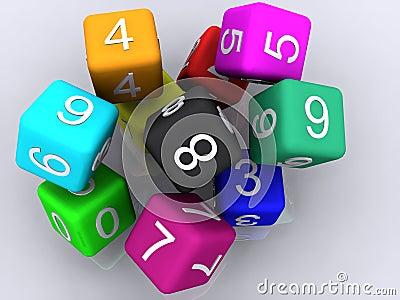 Cubes en caoutchouc 3d
