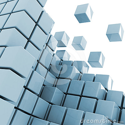Cubes getting detached abstract background