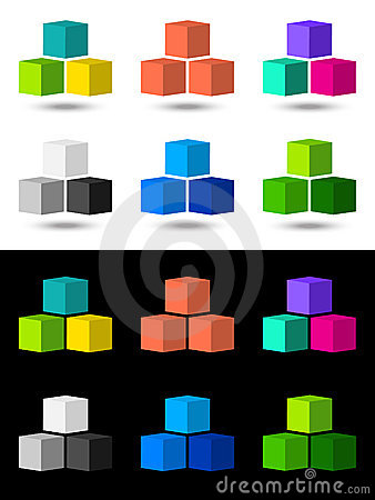 Cubes icon and logo design