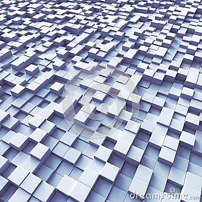 Cubes organized as a terrain