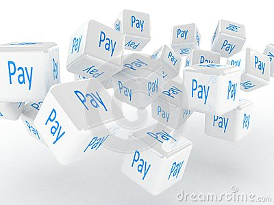 Cubes with a pay, 3D images
