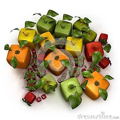 Cubic fruit composition