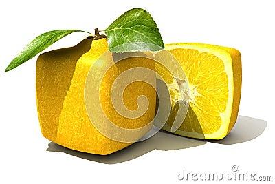 Cubic lemon close up