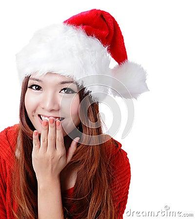 Cubierta sorprendida de la sonrisa de la muchacha de Santa su boca