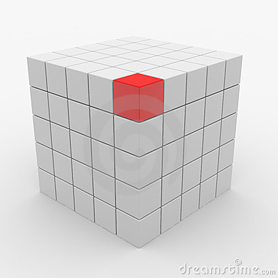 Cubo abstracto que ensambla de los bloques blancos