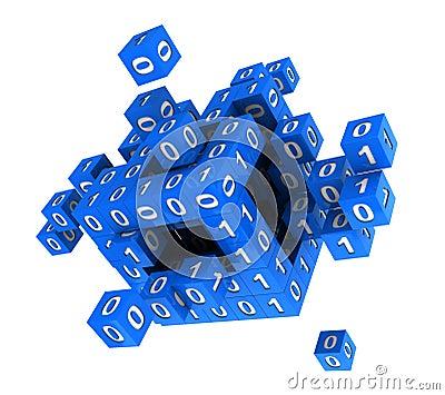 Cubo com código binário