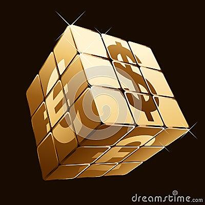 Cubo de oro con las muestras de dinero en circulación
