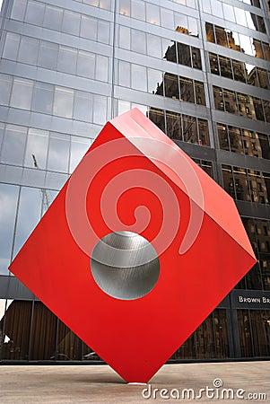 Cubo rojo de Noguchi Foto editorial