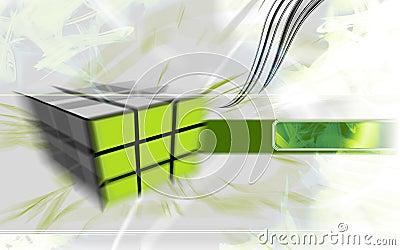 Cubo verde alta tecnologia.