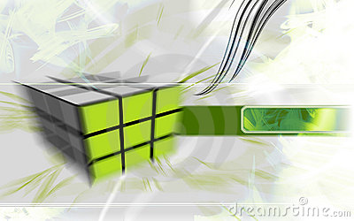 Cubo verde de alta tecnología.