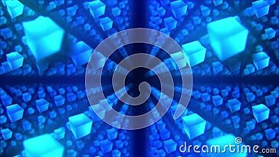 Cubos azules en fondo negro La conexi?n de los cubos 3d con poligonal geom?trico Animaci?n del lazo cyberspace S?mbolo del negoci ilustración del vector