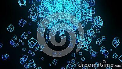 Cubos azules en fondo negro La conexi?n de los cubos 3d con poligonal geom?trico Animaci?n del lazo cyberspace S?mbolo del negoci stock de ilustración