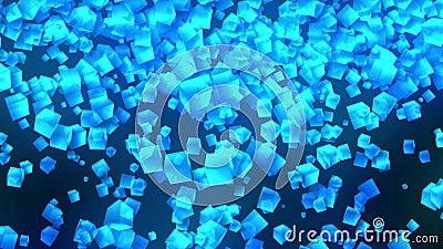 Cubos azules en fondo negro La conexi?n de los cubos 3d con poligonal geom?trico Animaci?n del lazo cyberspace S?mbolo del negoci libre illustration