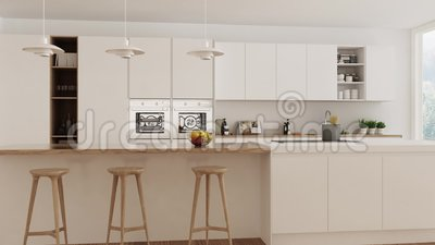 Cucina bianca scandinava, passeggiata interna da parte a parte, camma costante, progettazione minimalistic