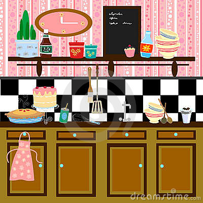 Disegno della cucina di stile di paese retro immagine stock libera ...
