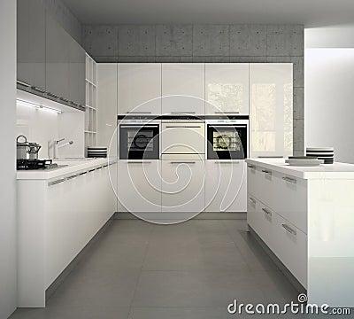 Cucina Moderna Lucida Bianca In Un Interno Illustrazione di Stock - Immagine: 38778547