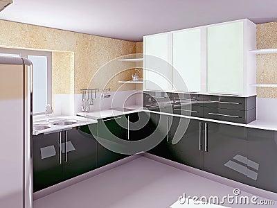 Cucina nera moderna di bellezza immagini stock immagine - Cucina italiana moderna ...