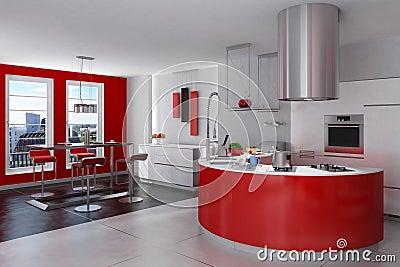 Cucina rossa e d 39 acciaio moderna immagine stock libera da - Cucina moderna rossa ...