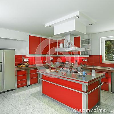 Cucina rossa moderna fotografie stock libere da diritti - Cucina moderna rossa ...