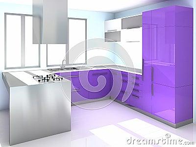 Cucina viola moderna immagini stock immagine 9065924 - Cucina italiana moderna ...